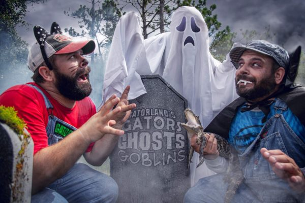 Bubba and Cooter meet a ghost during Gators, Ghosts and Goblins, Gatorland's Halloween event!